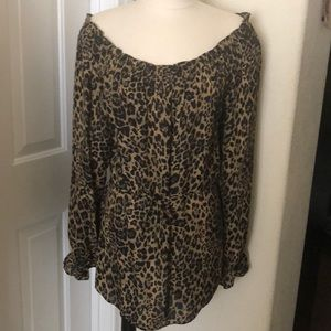 Express cheetah shoulder silk top shirt blouse